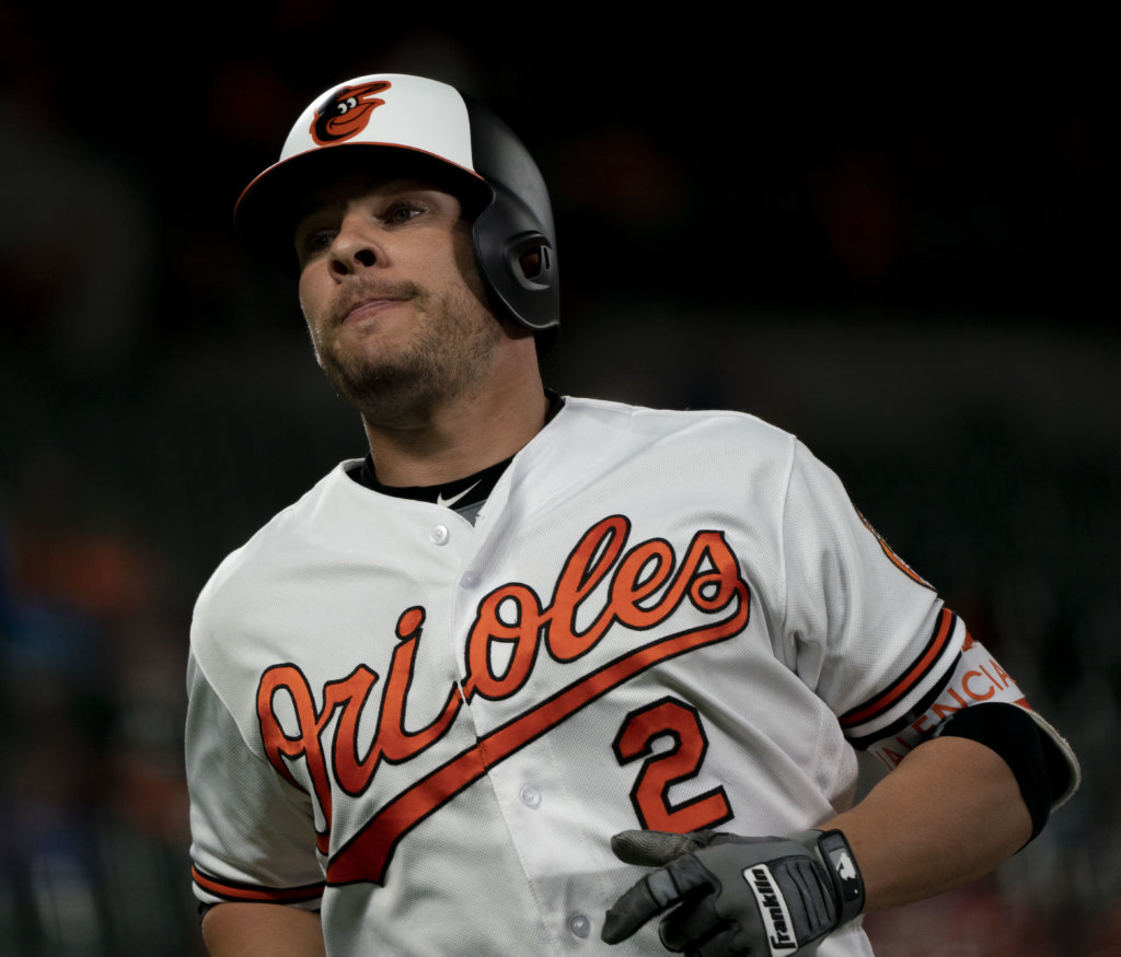 Danny Valencia, Baltimore Orioles vs. Kansas Royals, May 9, 2018. Credit: Keith Allison via Wikimedia Commons.